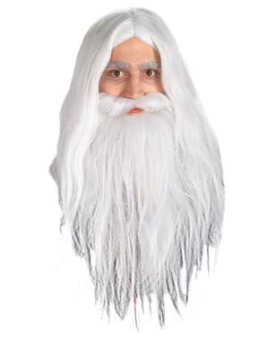 Perucă și barbă Gandalf