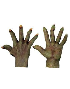 Mãos de Diabo esverdeadas em látex