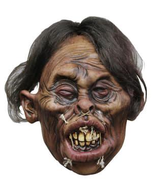 Latexová smrštěná hlava s hnědými vlasy