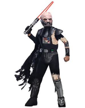 Fato de Darth Vader estragado em combate deluxe para menino