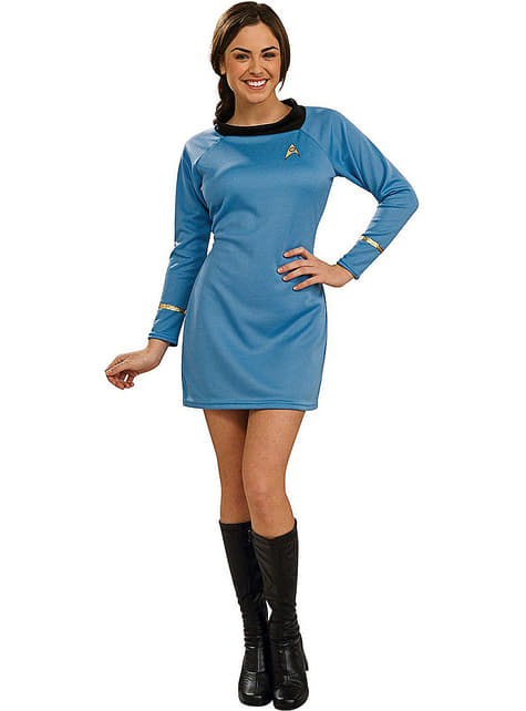 Fato de Star Trek deluxe azul para mulher