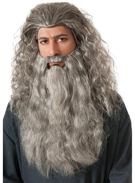Conjunto barba e peruca Gandalf