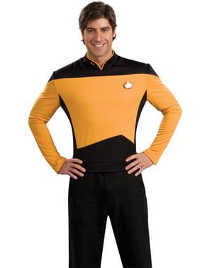 Златен шеф на операциите Стар Трек Новото поколение костюм за мъж
