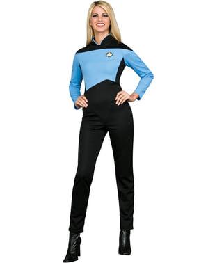 Blå Vitenskapsmann Star Trek The Next Generation Kostyme til Damer