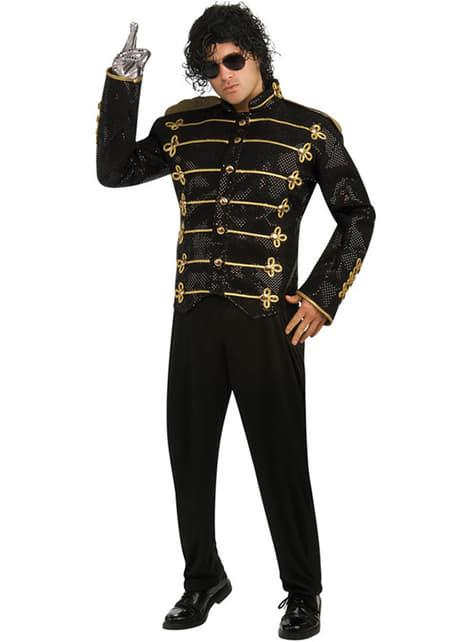 Casaco de Michael Jackson Militar deluxe preto para adulto