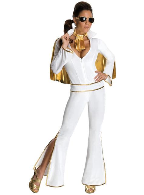 Disfraz de Elvis sexy blanco para mujer