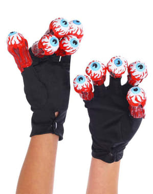Gloves with Beetlejuice eyes for an adult