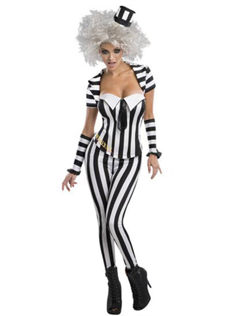 Beetlejuice corset costume for a woman
