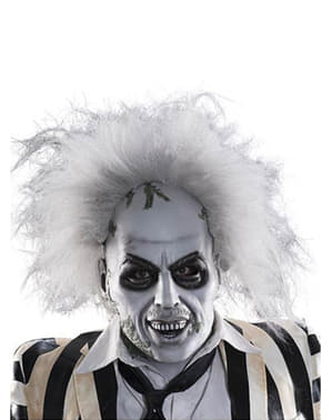 Beetlejuice deluxe latex maske med hår til voksne