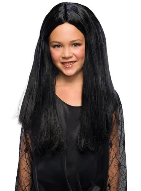 Peruca de Mortícia Addams A Família Addams para menina