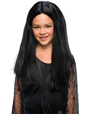 Morticia The Addams Family pruik voor meisjes