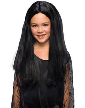 Peruka Morticia Rodzina Addamsów dla dziewczynki