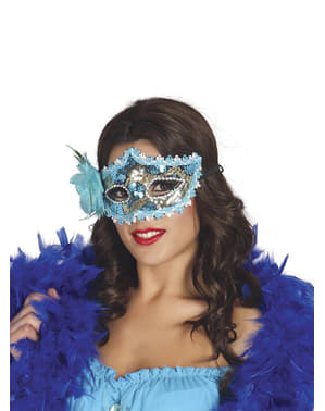 Blue Masquerade Mask with Rose