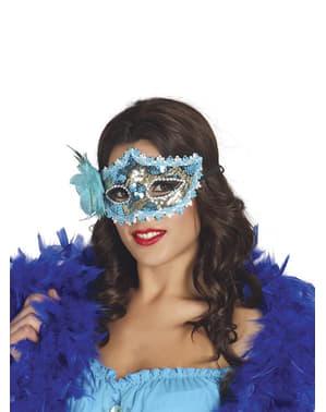 Синяя маскарадная маска с розой