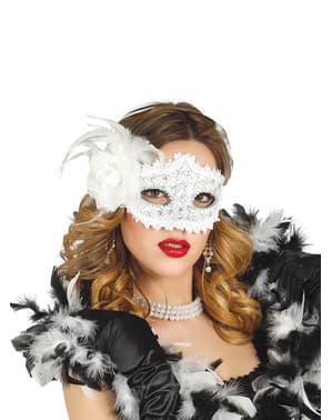 Maska bílá s růží
