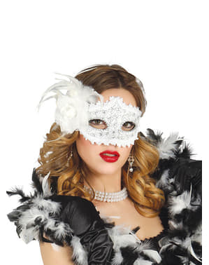 White Masquerade Mask with Rose