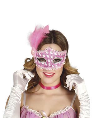 Máscara cor-de-rosa com penas