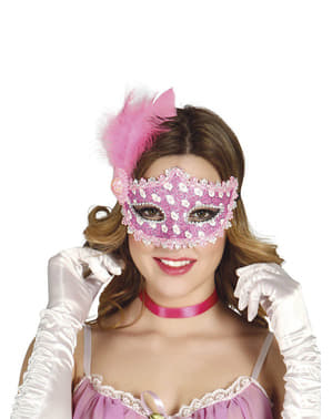 羽を持つピンクの仮面舞踏会マスク