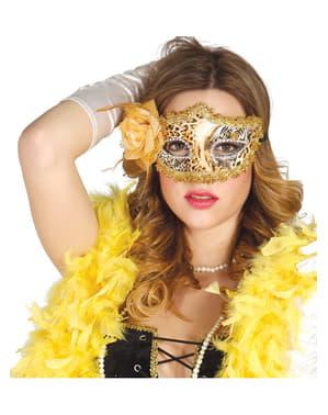 Maska zlatá s leopardím vzorem