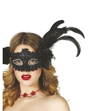 Masker mata hitam mengkilap dengan bunga dan bulu