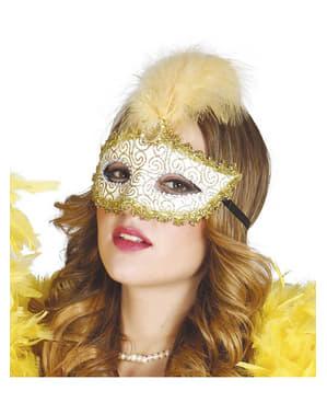 Maschera dorata con piume