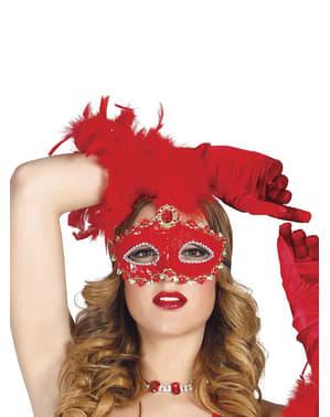 Mascherina Rosso Brillante con Piume