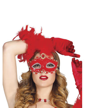Shiny Red Masquerade Mask with Feathers
