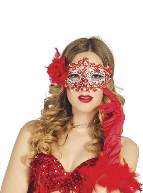 Máscara vermelho romântico com cor-de-rosa