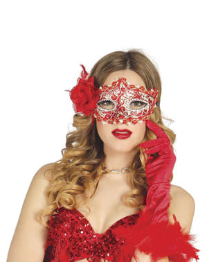 Topeng Masquerade Merah Romantik dengan Rose