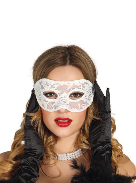 Maska na oczy koronkowa biała sexy