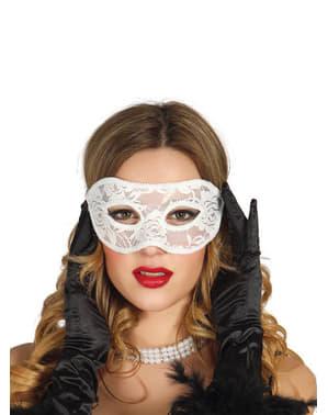 Máscara branco de encaixe sexy