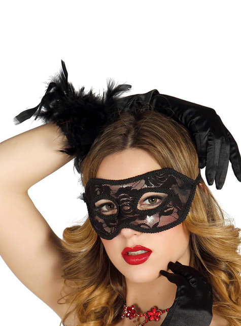 Sexy Svart Maskerademaske med Blonder