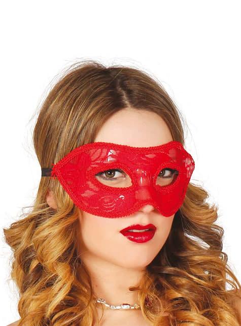 Máscara vermelho de encaixe sexy