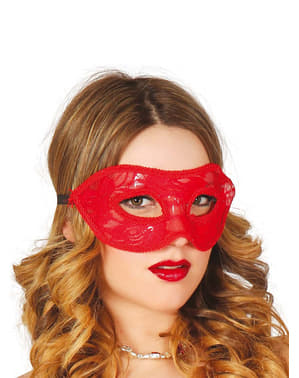 Sexig spetsögonmask Röd