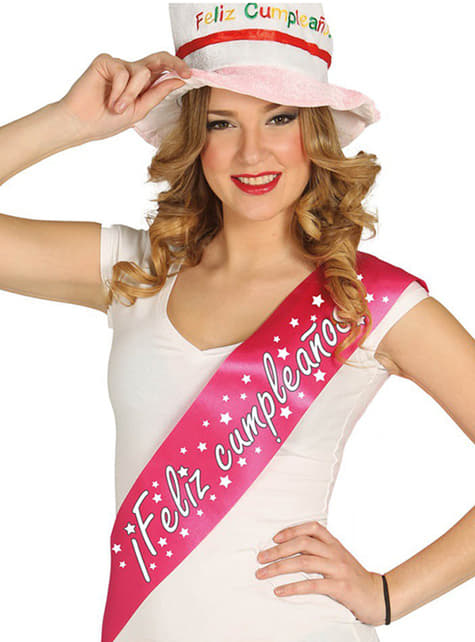 Banda Feliz Aniversário cor-de-rosa fúcsia