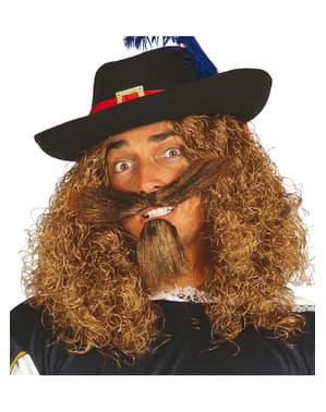 Selvklæbende overskæg og hageskæg lange