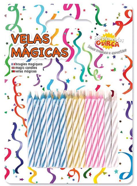 Pack de 24 Velas Mágicas de colores para Cumpleaños