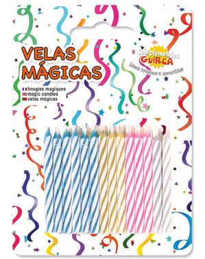 Fødselsdagspakke med 24 farverige og magiske stearinlys