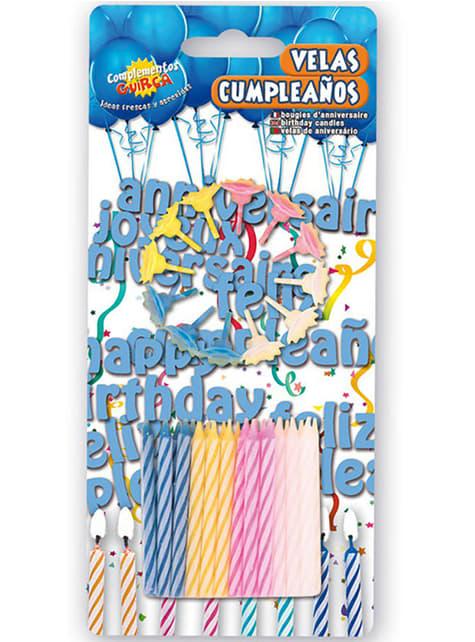 Fødselsdagspakke med 24 stearinlys og 12 farverige lysestager