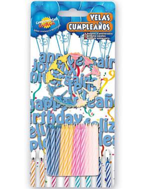 Pack de 24 velas e 12 castiçal às cores para Aniversário