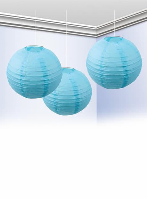 Pack of 3 Sky Blue Lanterns 25cm