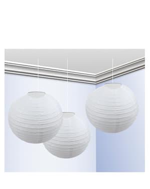 Pakke med 3 Hvite Lanterner 25cm
