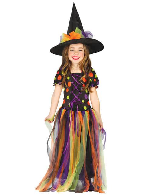 Hekseudklædning med farvede cirkler til piger