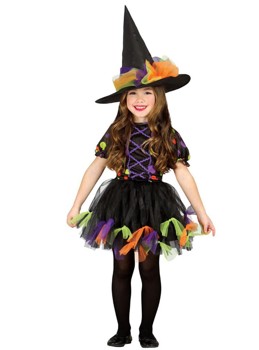 Disfraz de Bruja Topos de colores para niña | Funidelia