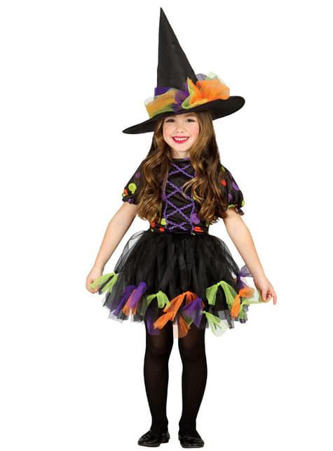 Fato de Bruxa bolinhas às cores para menina