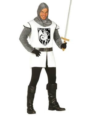 Costume da Cavaliere Medievale Bianco da uomo