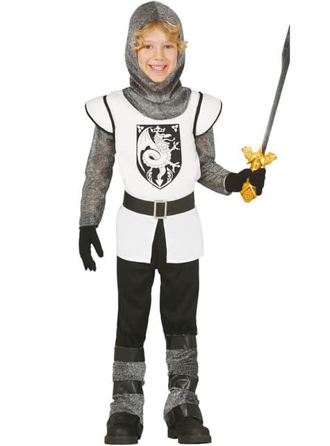 Hvit Middelalder Ridder Kostyme Gutt