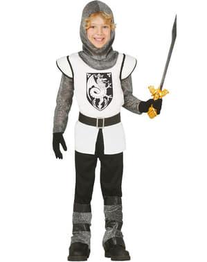 Mittelalterliches Ritter Kostüm weiß für Jungen
