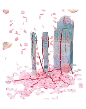 Roze confetti blaadjes kanon 50 cm.