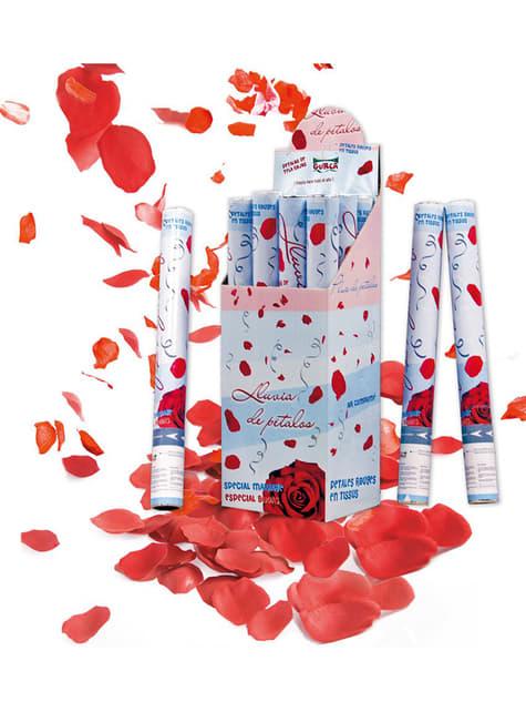 Konfettikanon med røde rosenblade 50 cm.